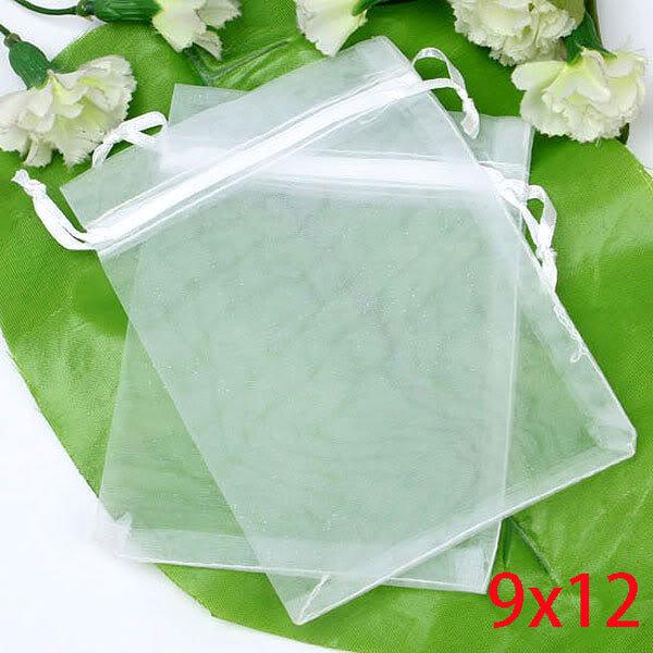 Fashion Hot Sale White Drawable Organza Wedding Gift Bags Packaging 9x12cm 100pcs/lot(China (Mainland))