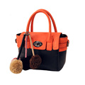 Fashion Contrast Color Fur Balls Handbag Women Trendy Casual Twist Lock Flap Bag Ladies Designer Casual