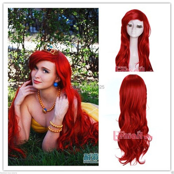 [The Little Mermaid] Hot long Dark Red Curly Little Mermaid princess Ariel synthetic Cosplay Wig