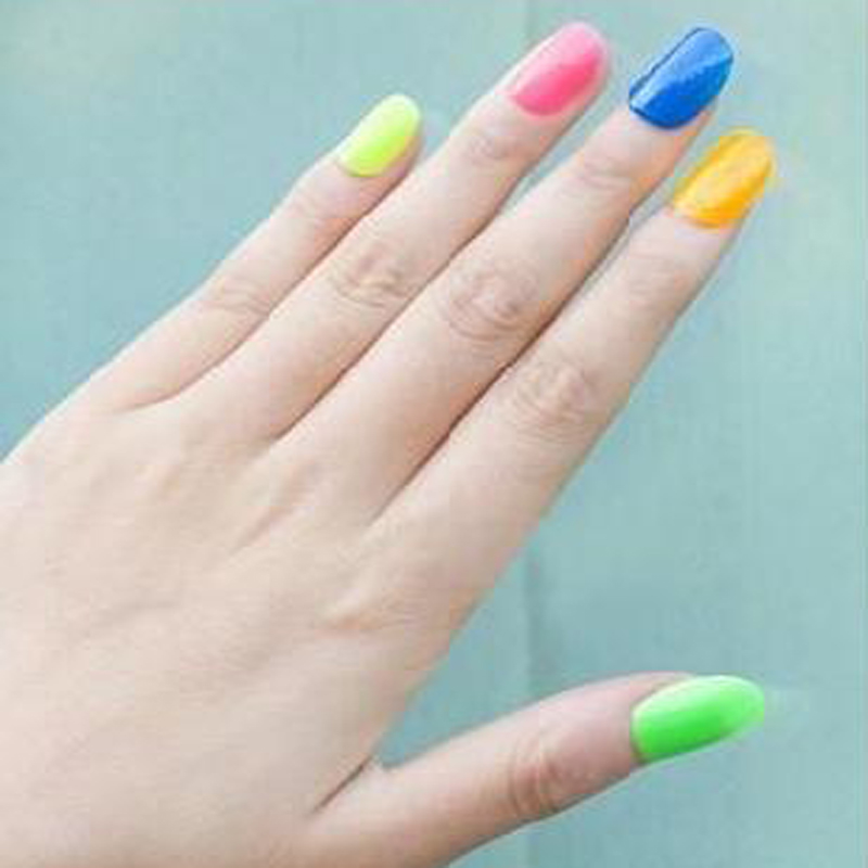 High quality 7ml Neon Fluorescent Non-toxic Nail Polish Nail Varnish Lacquer Paint Nail Art for Lady Girl safe and economic(China (Mainland))