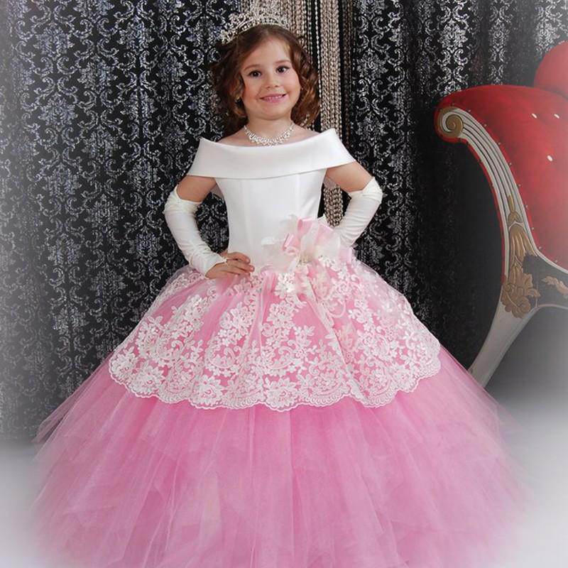 Custom Made White Satin Pink Puffy Toddler Ball Gown Girls Frock Designs Abiti Da Comunione Vintage Lace Flower Girl Dresses(China (Mainland))