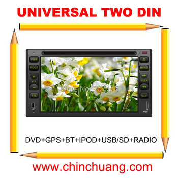 Car DVD Player GPS with Universal 2 Din  dvd  Radio, TV,BT,USB/SD+ Russian Menu+free 4G card with map