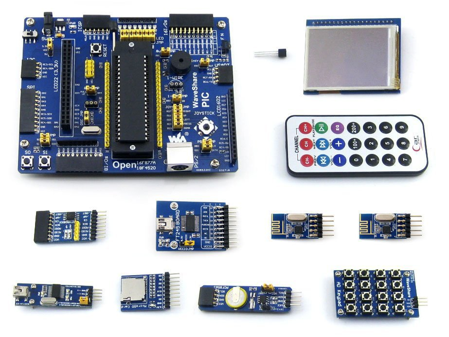 PIC Board PIC18F4520-I/P PIC18F4520 8-bit RISC PIC Development Board +11 Accessory Kits =Waveshare Open18F4520 Package A(China (Mainland))