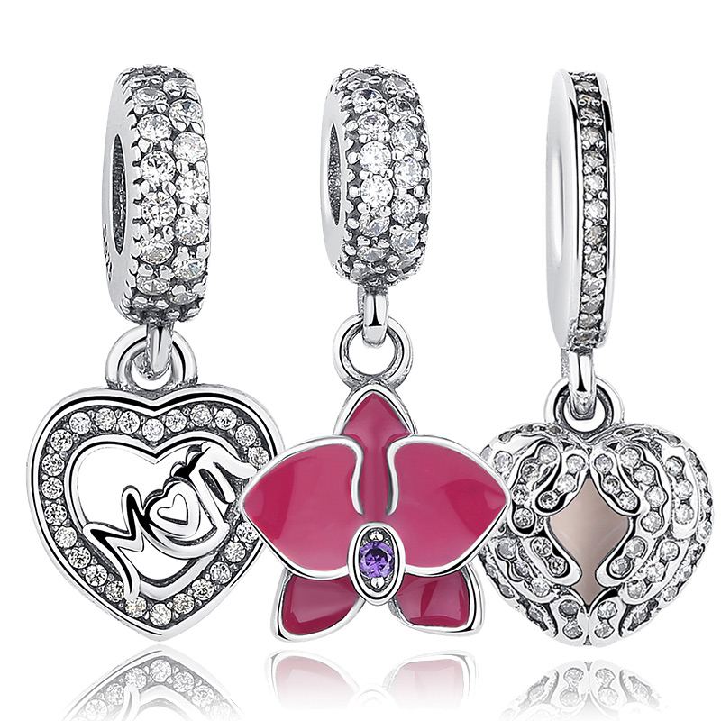 Original 925 Sterling Silver Radiant Orchid Snowflake MOM Daisy Charm Fit Pandora Bracelet CZ Dangle Jewelry Accessories(China (Mainland))