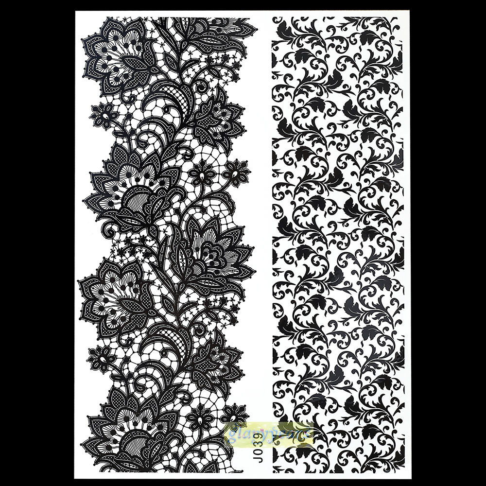 1pc Cones Natural Plants Pigment Nontoxic Tattoo Women Black Henna Jewel Lace BJ039 Necklace Bracelet Temporary Tattoo Stickers(China (Mainland))