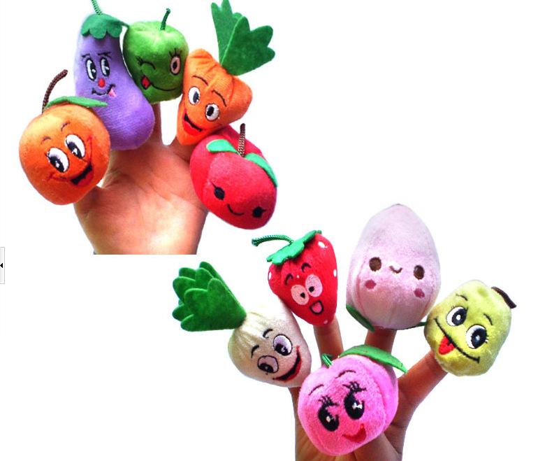 2016 New 10pcs/Set Different Styles Fruit Vegetable Finger Puppet Set for Kid Children Unisex Finger Toys Education Toy(China (Mainland))
