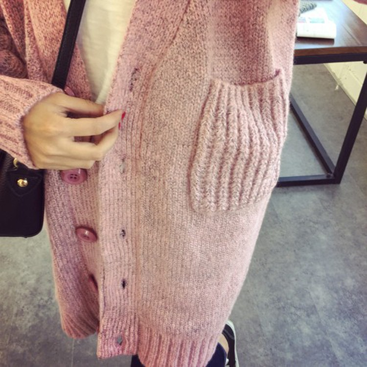 2016 Hot Selling New autumn winter V-neck knit cardigan jacket Women's twist loose outside the ride long sweater cardigan female