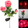 Waterproof IP55 3 Rose Flower LED Light Garden Yard Lawn Home Decoration Lamp Christmas Lights Lamps
