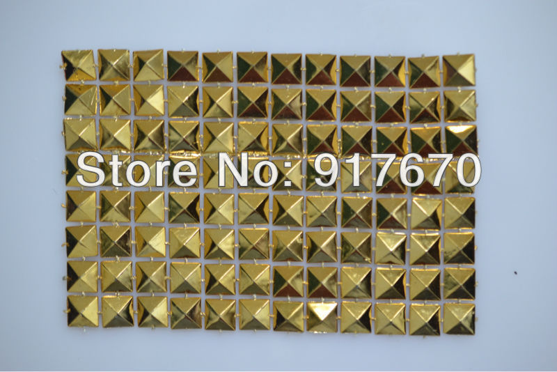 12rows plastic trimming gold mesh banding, pyramid net trim sewing accessories roll for decorative shoppingbag cloth appliques(China (Mainland))