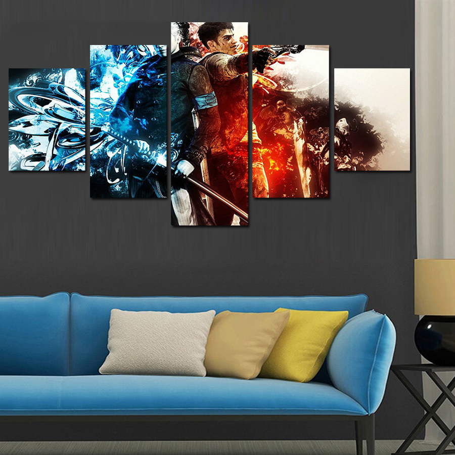 Hot Sell 5 Panel Cuadros Home Decor Modern Printed Movie Scarface Painting Canvas Wall Art For Living Room No Frame Olivia