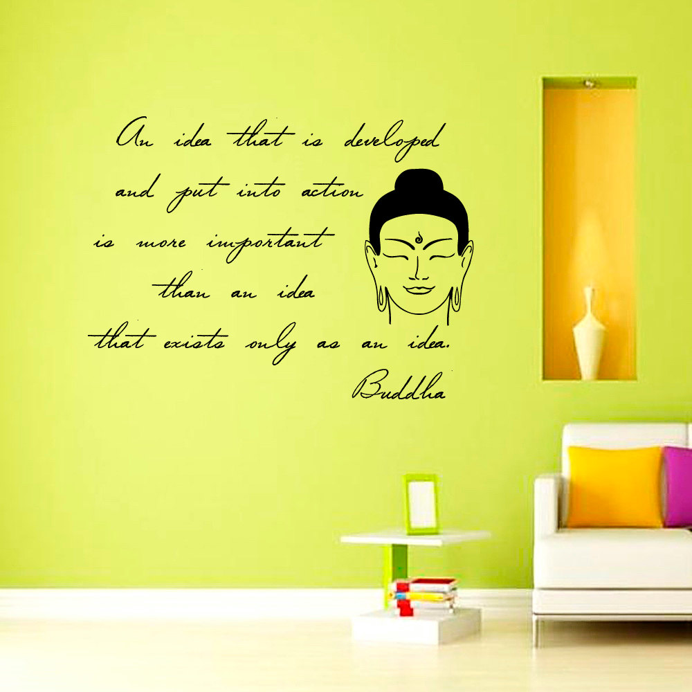 Inspiring Sentence Buddha Wall Sticker Living Room Removable Vinyl Art Decals  Home Decor Black