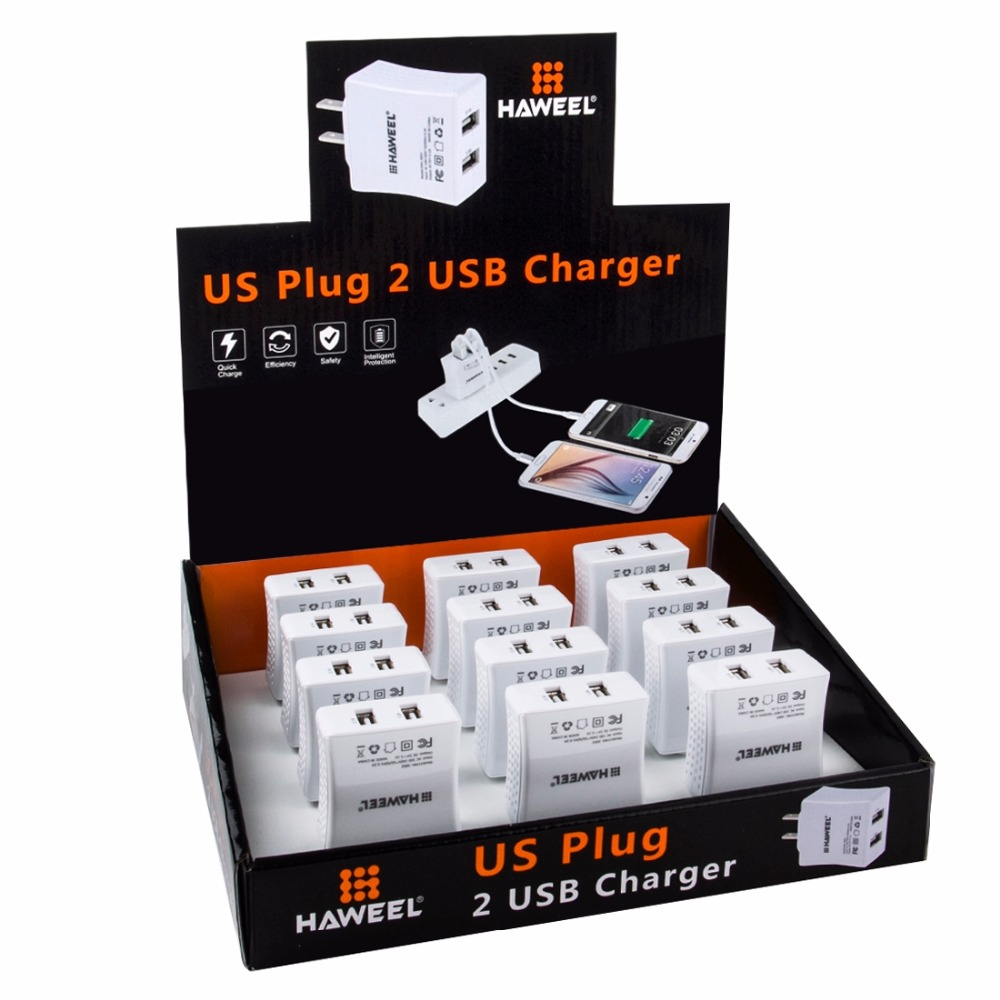 12 PCS 2 USB Ports Max 3.1A Travel Charger Kit with Display Stand Box for iPhone Other Mobile Phones and Tablet PC(China (Mainland))