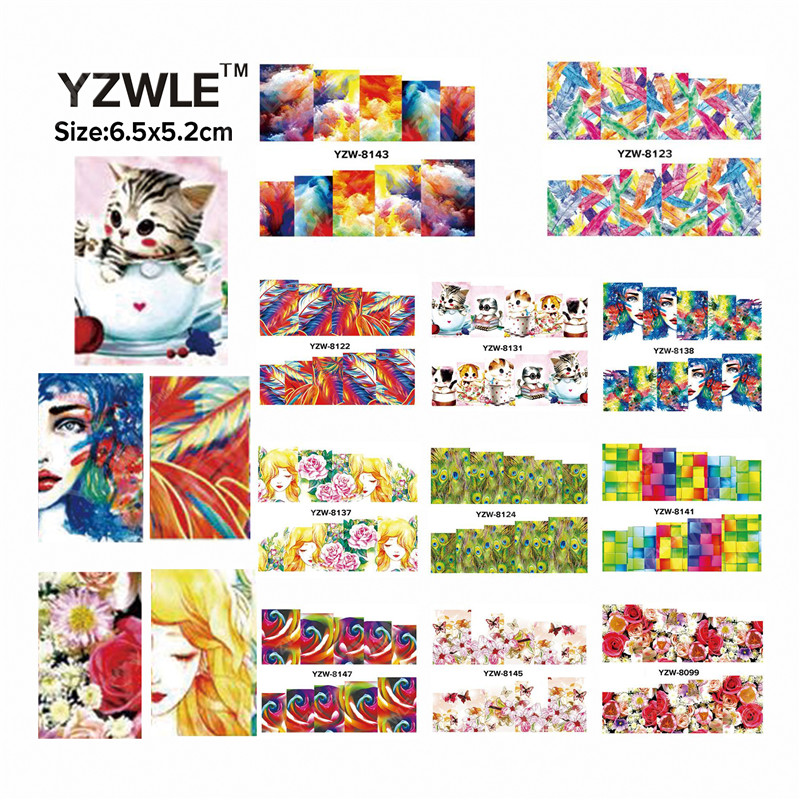 YZWLE 49 Sheets DIY Decals Nails Art Water Transfer Printing Stickers Accessories For Manicure Salon YZW(D-8099-8147)(China (Mainland))