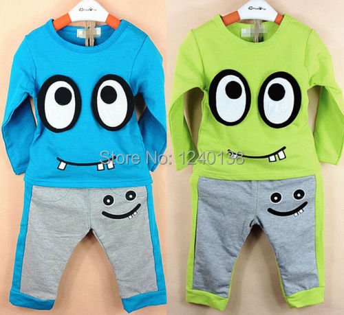 2015 new Baby Kids Boys Toddlers Outfit T-Shirt Children Cartoon Clothing Set+ Pants Suit(China (Mainland))