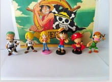 6pcs/1lot Anime One Piece Luffy Chopper Sanji 7cm Toys #1409 Action Figure Brinquedo Toys Kids Christmas Gift Free Shipping