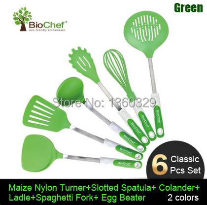 Silicone Cooking Tools Silicon Ladle 6pcs Set Stainless Steel Kitchen Cooking Utensils Cooking Gadget Fun Colorful Kitchen Sets(China (Mainland))