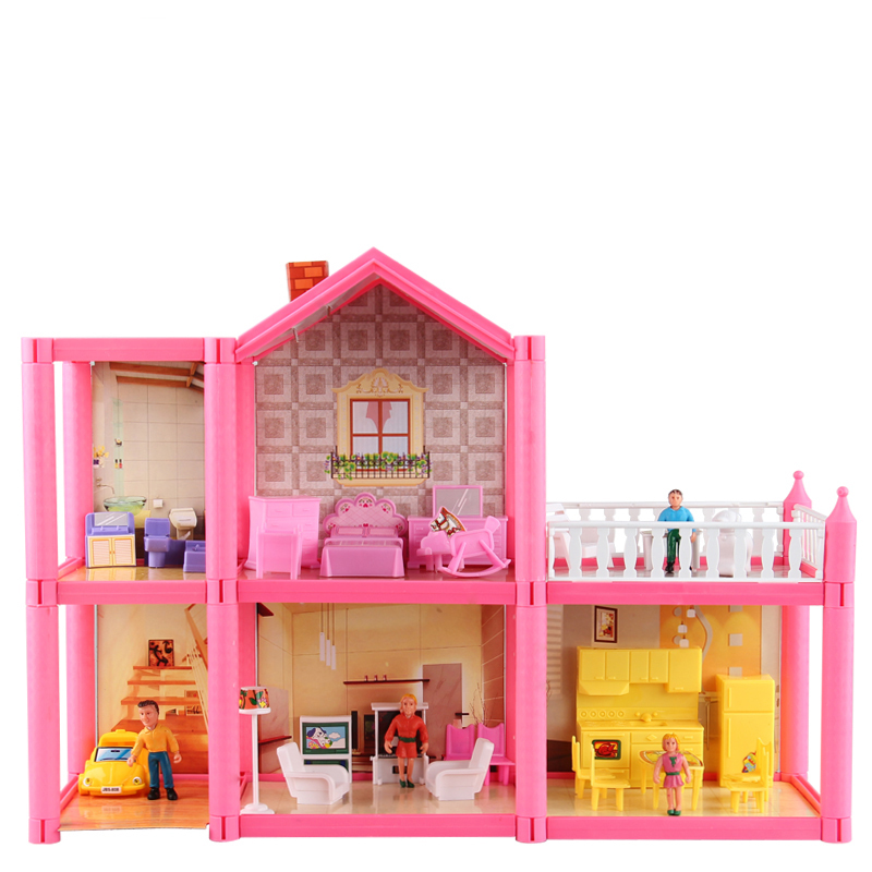 Free shipping DIY Assemble villa doll house toys children play house toy doll home miniaturas casa de bonecas(China (Mainland))