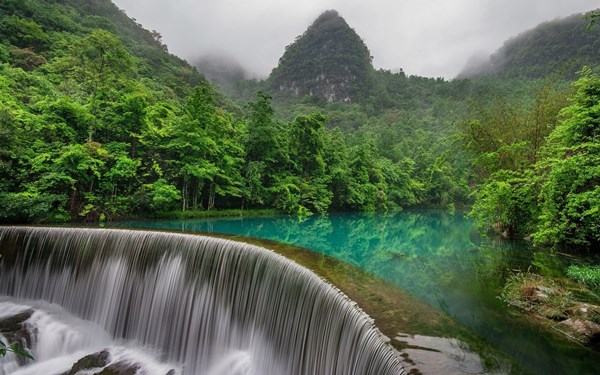 Living room home wall decoration sill fabric poster nature landscape trees forest China lake waterfall mountain mist jungles(China (Mainland))