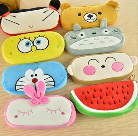1 Cartoon Plush Pencil case Totoro Hello Kitty Domo Kun Donkey Rilakkuma Soft Bag - Godzone store