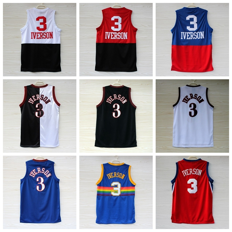 Philadelphia 2015 Hot Sale #3 Allen Iverson Jersey Blue Black Red White Throwback Stitched New Materials Sport Basketball Jersey(China (Mainland))