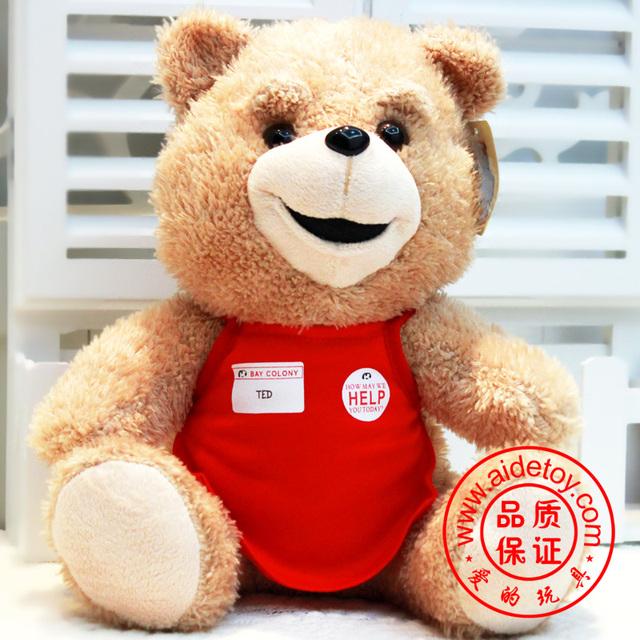 "New Arrival Free shipping! 30cm/9"" Teddy Bear Ted Plush Dolls Man's Ted Bear Stuffed Plush Toys Boyfirend Gifts Tao"