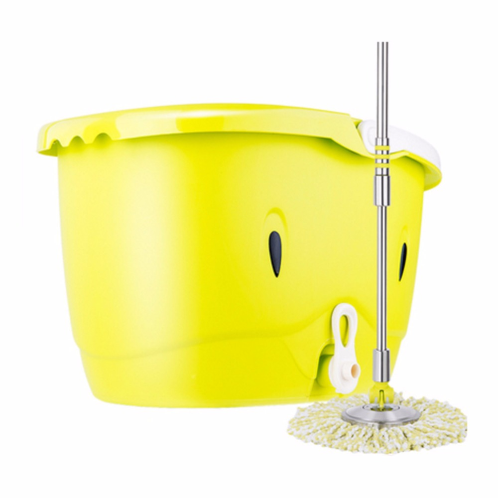 Easy Wring and Clean Microfiber Double Dual Spinning Mop Bucket With 2 Microfiber Mop Heads(China (Mainland))