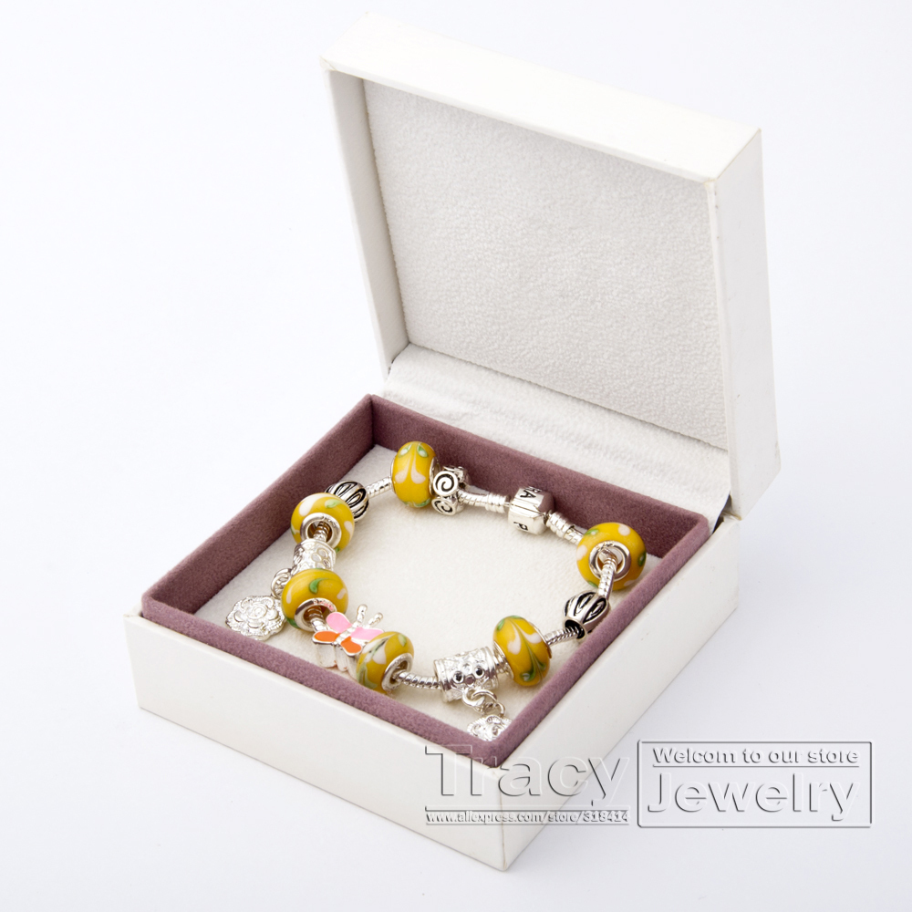 COME WITH BOX! European 925 Silver Chain Charm Bracelet Women Yellow Lampwork Glass Beads Christmas Jewelry PA1175 - Tracy store