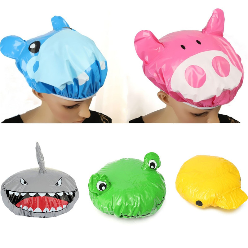 Fashion Cute Cartoon Animal Design Waterproof PVC Elastic Spa Shower Cap Hat Bath Hair Cover Protector Hats Bathroom Product(China (Mainland))