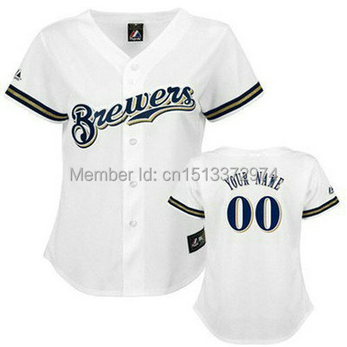 women buy online custom made baseball jerseys Milwaukee Brewers white customized Your Name Number mix order ,embroidered logos(China (Mainland))