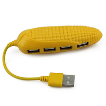1Pc Corn Shape Cartoon High Speed USB Hub Micro Mini 4 Port USB Port For Laptop PC Computer Peripherals Accessories