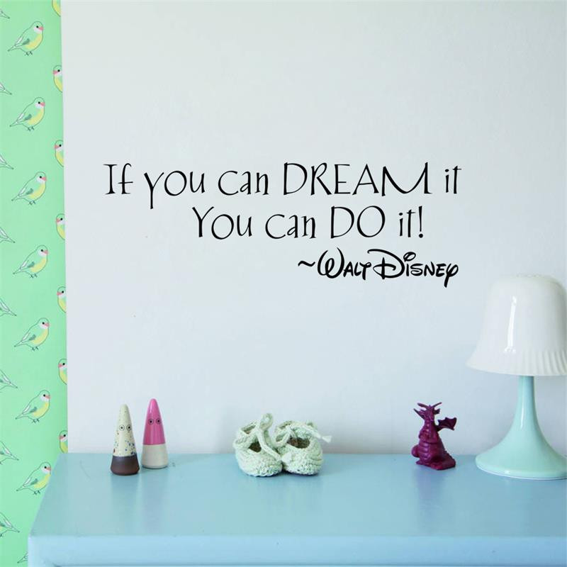 Hot IF YOU CAN DREAM IT YOU CAN DO IT inspiring quotes Wall Stickers Home Art Decor Decal Mural Wall Stickers For Kids Rooms(China (Mainland))