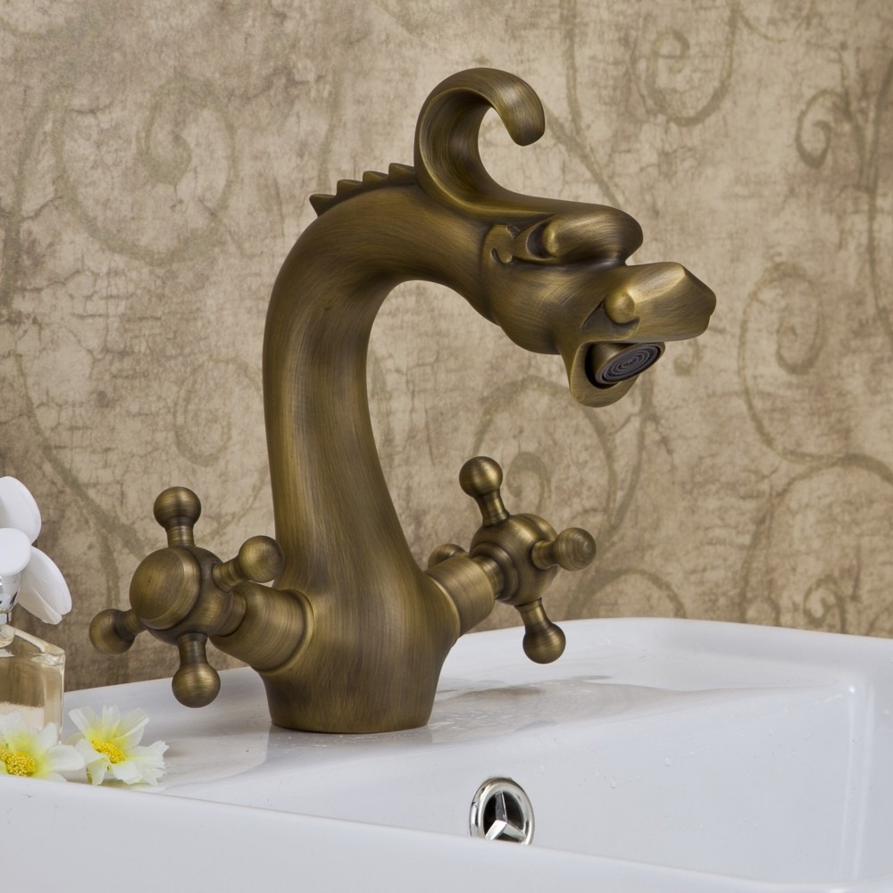 Antique Brass Dragon design water mixer bathroom Faucet.Dual clawfoot handle Wash basin faucet. Thermostatic faucet DR-002.