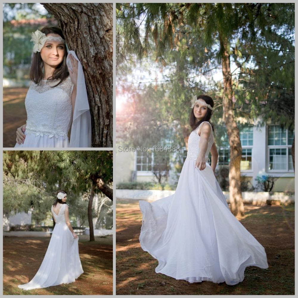 Country style vintage chiffon beach wedding dresses 2015 for Country style lace wedding dress