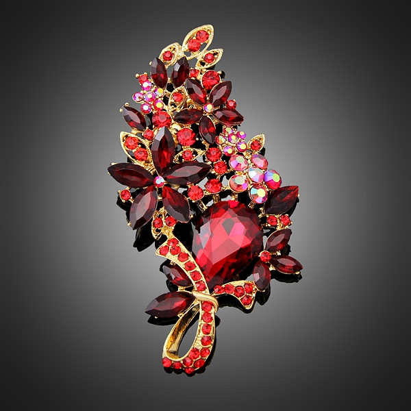 Large Red Glass Wedding Brooches Bouquet Fashionable Jewelry Leaf Design Rhinestone Christmas 18K Gold Brooch Pins For Women(China (Mainland))