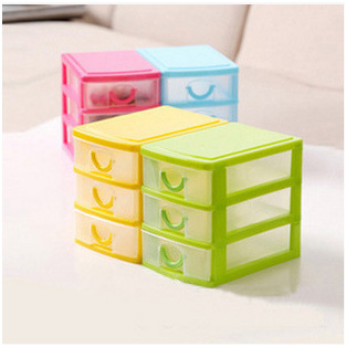 Modern Design Desktop Plastic Storage Box with Three Drawers Jewelry Organizer Holder Cabinets Fit For Office Home(China (Mainland))