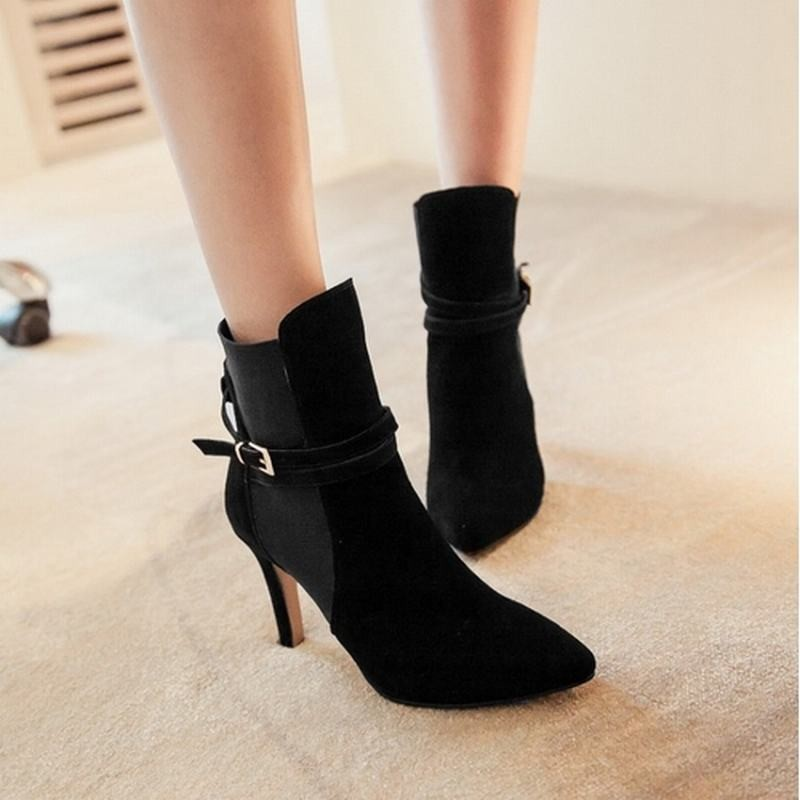 2015 Brand High Heels Autumn Winter Boots Genuine Leather Pointed toe Patch Slip on Buckle Ankle Boots Women Boots Shoes Woman