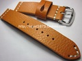 Yellow Brown Handmade leather strap 20mm yellow brown calfskin Watchband retro rough mad men s bracelet
