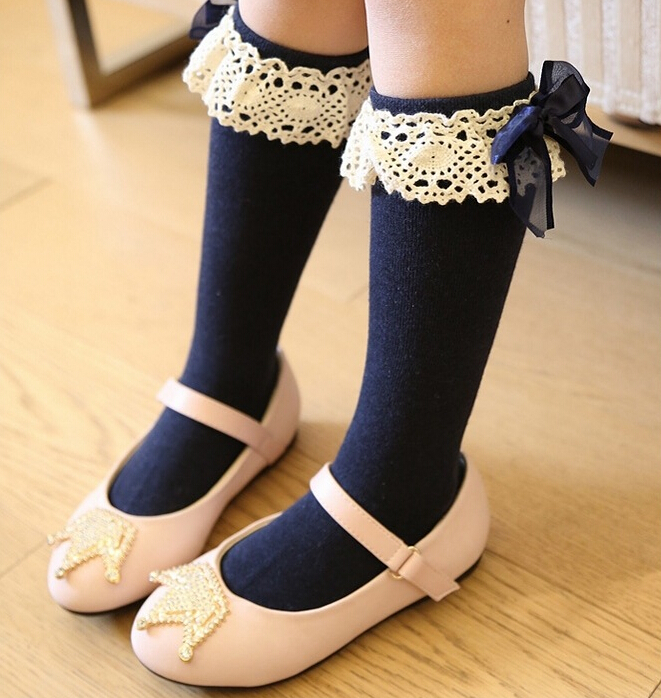 100 pairs Baby socks kids Stockings classic knee boots high socks with lace solid color Cotton candy color lace princess socks<br><br>Aliexpress