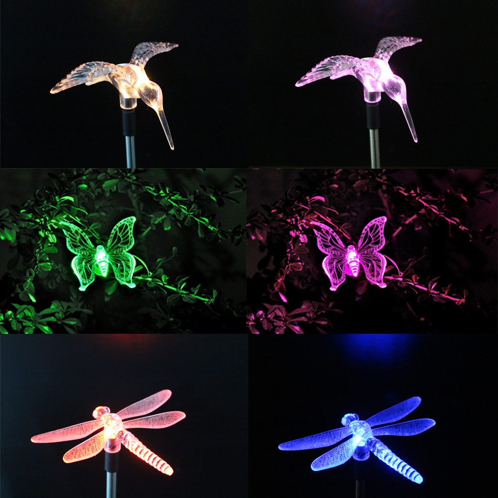Animal Solar LED Path Light Butterfly Dragonfly Bird Shape Decorative Lamp Party Outdoor Garden Lawn Landscape Decor(China (Mainland))