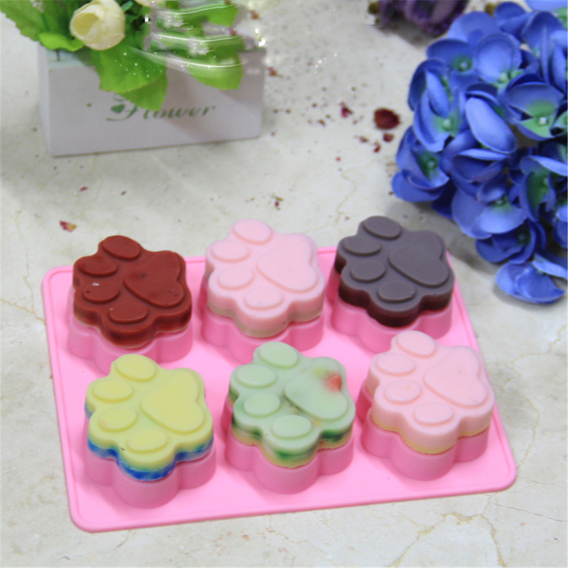 Brand New Cute Silicone Cake Mould Tool Cat Dog Paw Fondant Mold Cake Soap Cookies Chocolate Baking Tin Mould Free Shipping(China (Mainland))