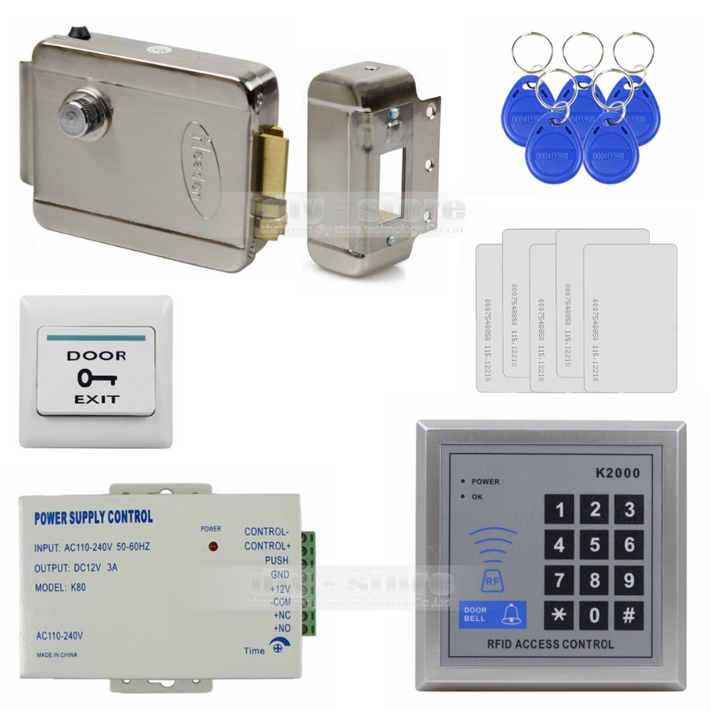 DIY 125KHz Rfid Access Control System Full Kit Set + Electronic Door Lock + Power Supply + Exit Button K2000(China (Mainland))