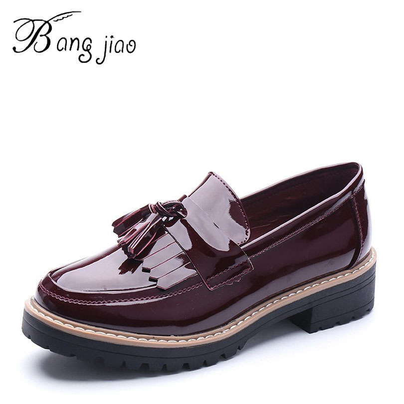 free shipping patent leather brogue oxford shoes