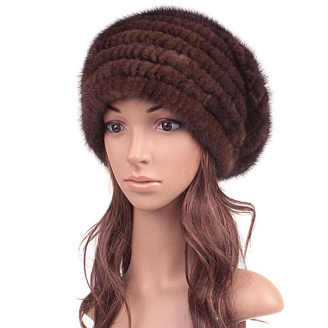 Подлинной норки меховая шапка для зимы женщин женский skullies уха 2015 высокое качество ...