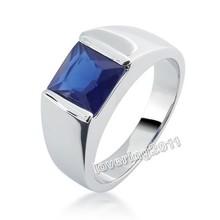 Victoria Wieck  Handsome Sz 8-12 Jewellery Antique Men's 925 Silver Princess Cut Sapphire Wedding Ring(China (Mainland))