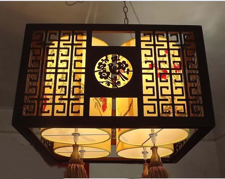 Pendant light project light 4 tube sheepskin pendant light wooden pendant light chinese style antique lamp(China (Mainland))