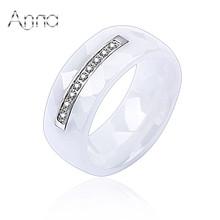A&N роскошные свадебные керамические праздничные женские кольца, юыелирные белые широкие женские кольца с серебряным кристаллом, женские ювелирные изделия с полным набором размеров США(China (Mainland))