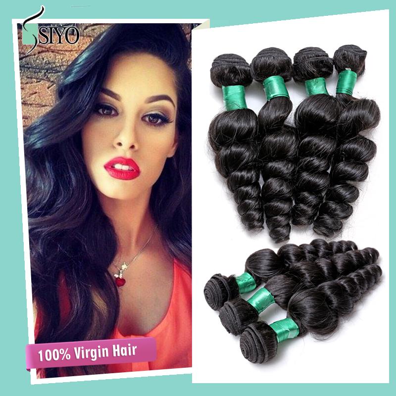 2015 New Natural Black Human Hair Weave 6A unprocessed indian virgin hair 4 bundles raw indian loose deep wave remi hair weave(China (Mainland))
