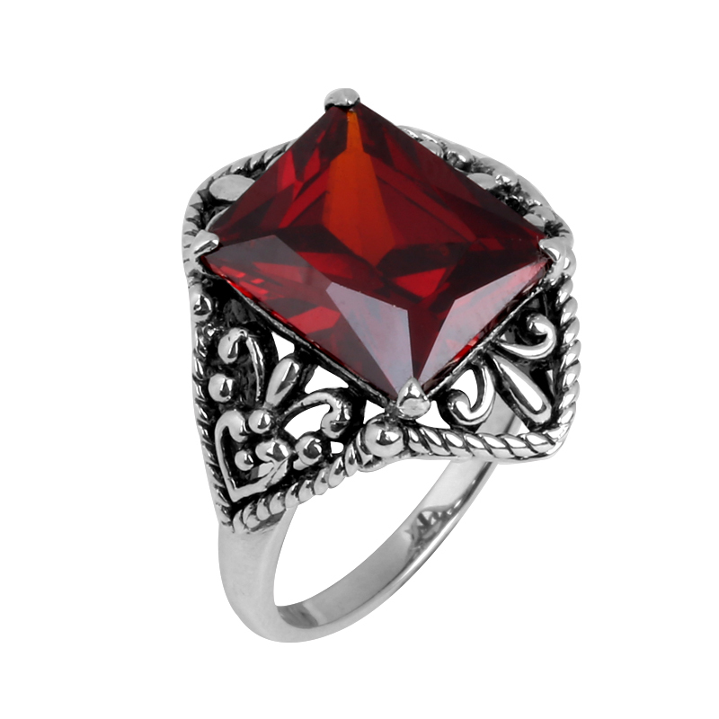 Antique jewelry free transport factory direct sales wholesale 925 sterling silver filigree CZ red garnet women's wedding rings(China (Mainland))