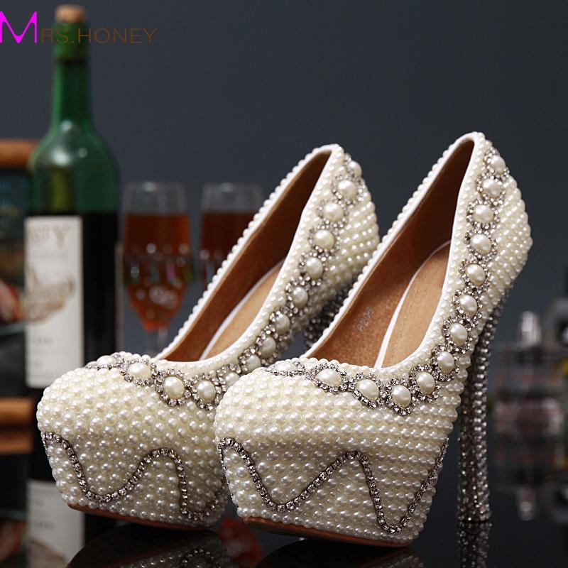 Фотография Handmade White Color Wedding Dress Shoes Bridal Shoes Gorgeous Super High Heel Shoes Imitation Pearl Rhinestone Shoes