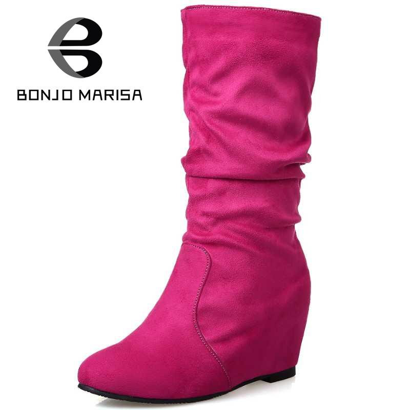 Fashion Concise Style Half Knee High Boots Casual Shoes Women Solid Round Toe Less Platform Women Shoes High Heel Wedges